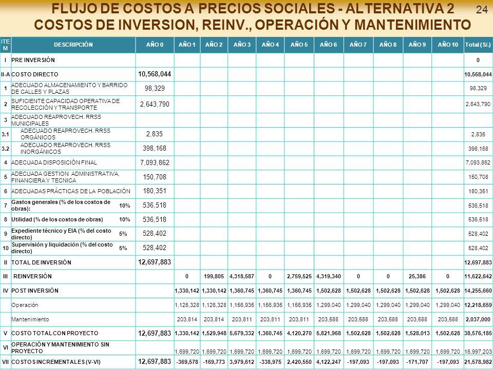 FLUJO DE COSTOS A PRECIOS SOCIALES - ALTERNATIVA 2 COSTOS DE INVERSION, REINV., OPERACIÓN Y MANTENIMIENTO