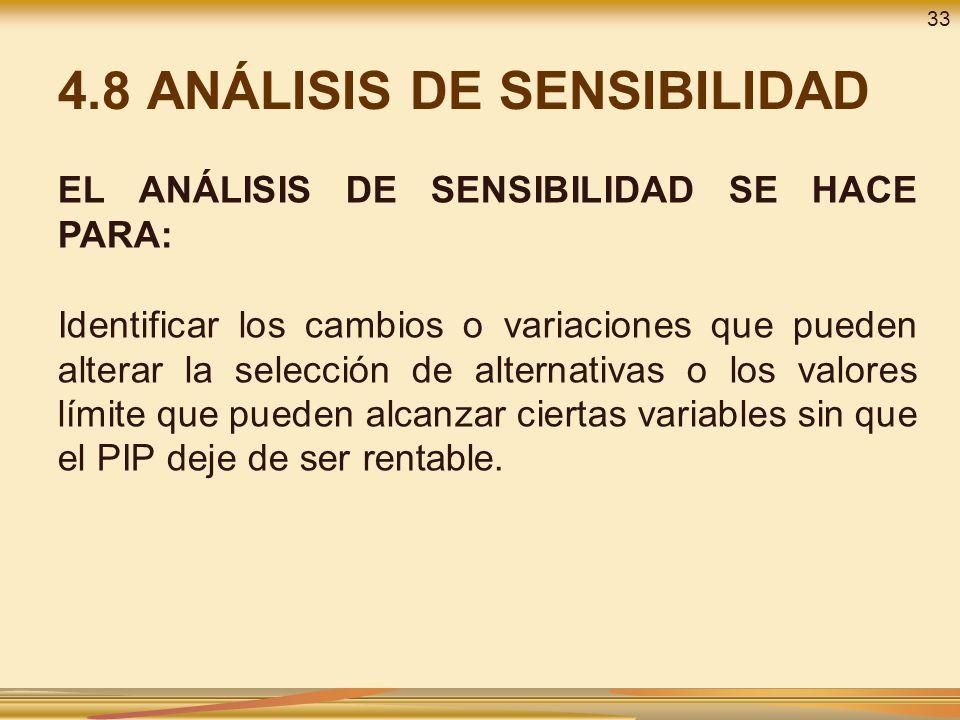 4.8 ANÁLISIS DE SENSIBILIDAD