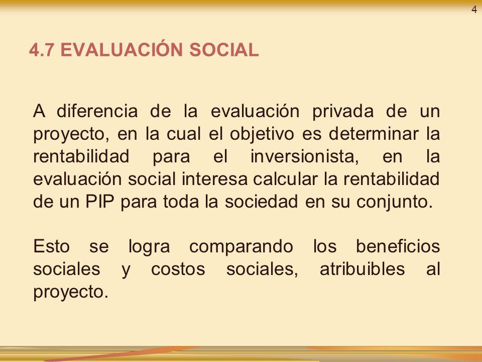 4 4.7 EVALUACIÓN SOCIAL.