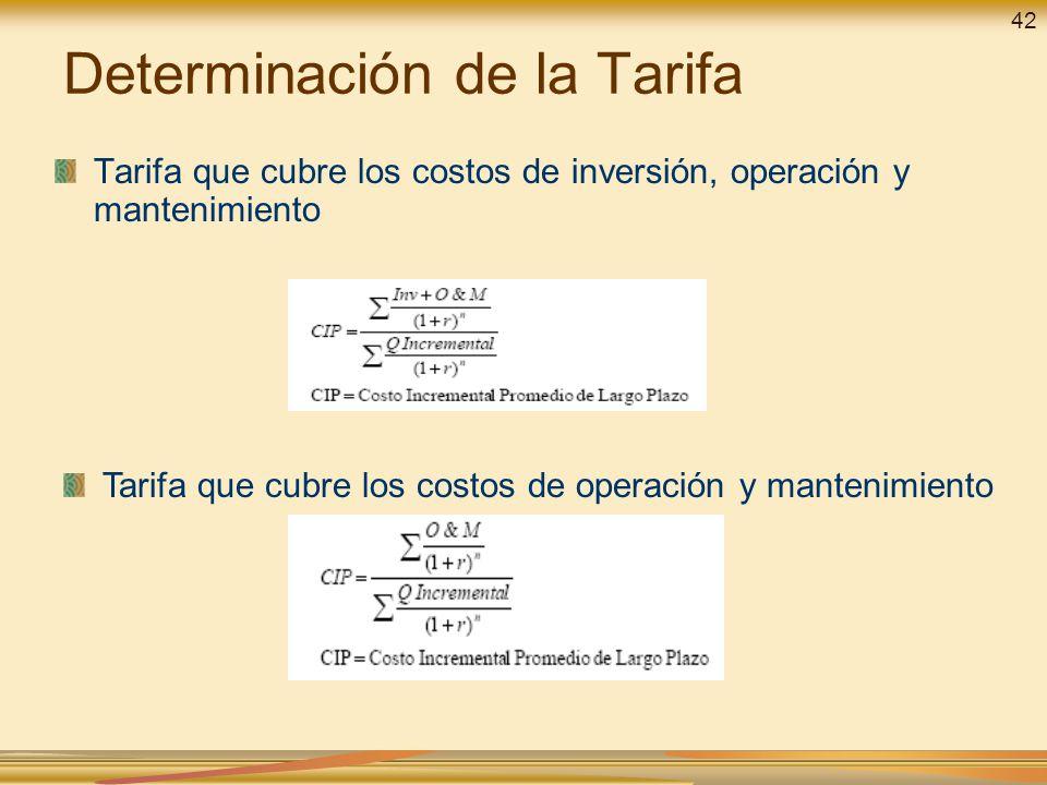 Determinación de la Tarifa