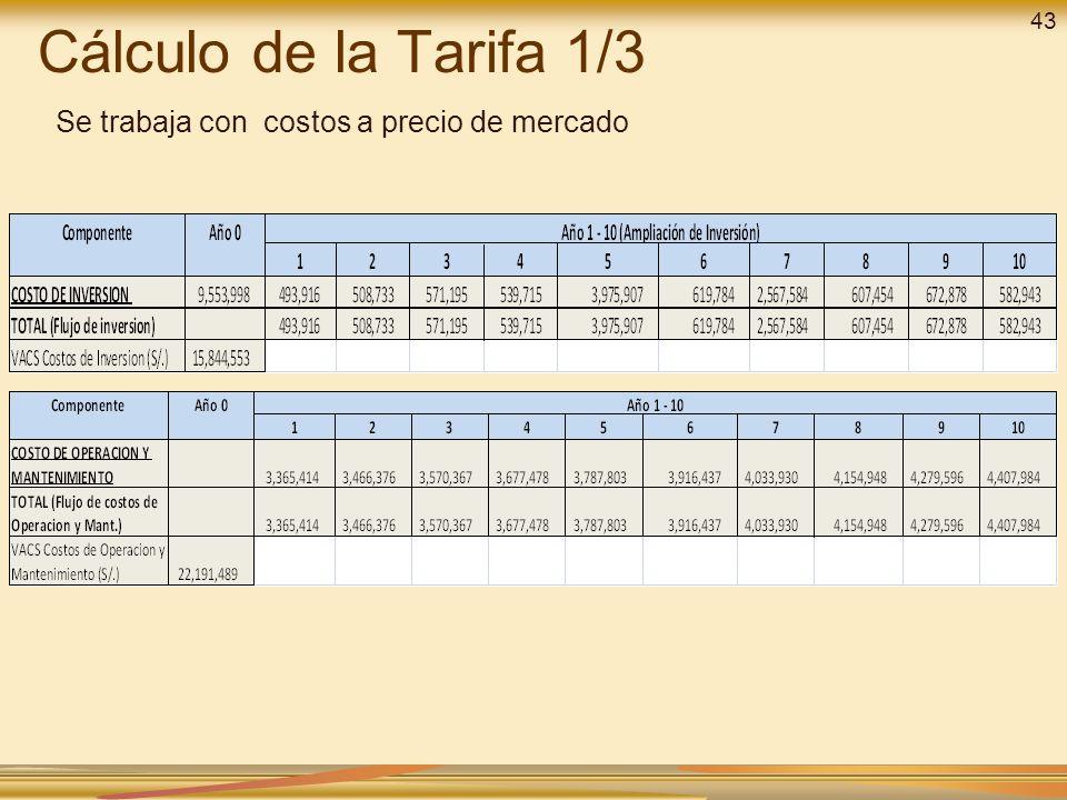 43 Cálculo de la Tarifa 1/3 Se trabaja con costos a precio de mercado