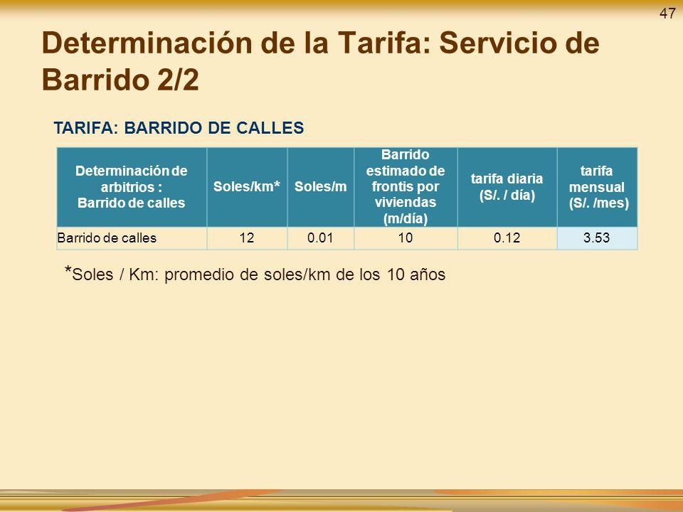 Determinación de la Tarifa: Servicio de Barrido 2/2