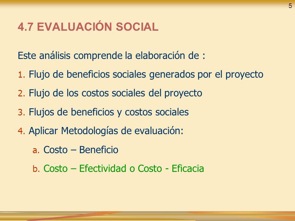 4.7 EVALUACIÓN SOCIAL Este análisis comprende la elaboración de :