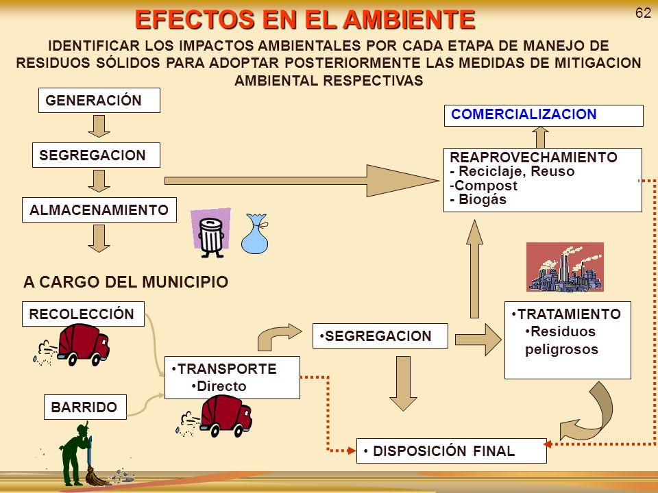 EFECTOS EN EL AMBIENTE A CARGO DEL MUNICIPIO 62
