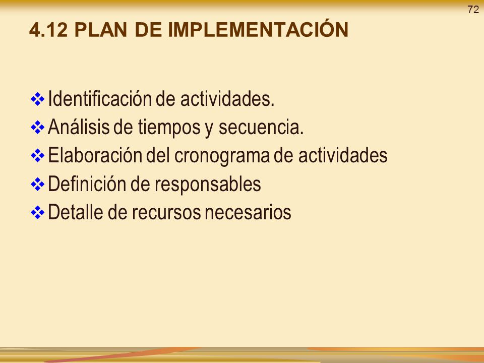 4.12 PLAN DE IMPLEMENTACIÓN