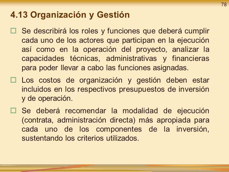 4.13 Organización y Gestión
