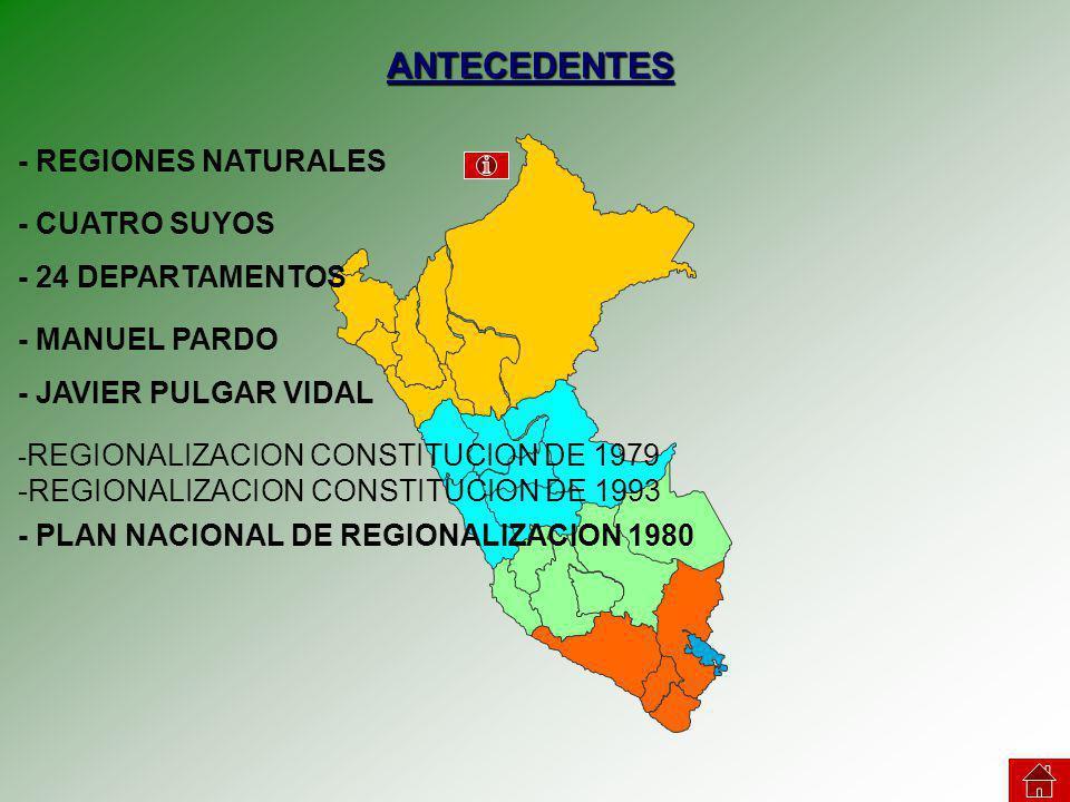 ANTECEDENTES - REGIONES NATURALES - CUATRO SUYOS - 24 DEPARTAMENTOS