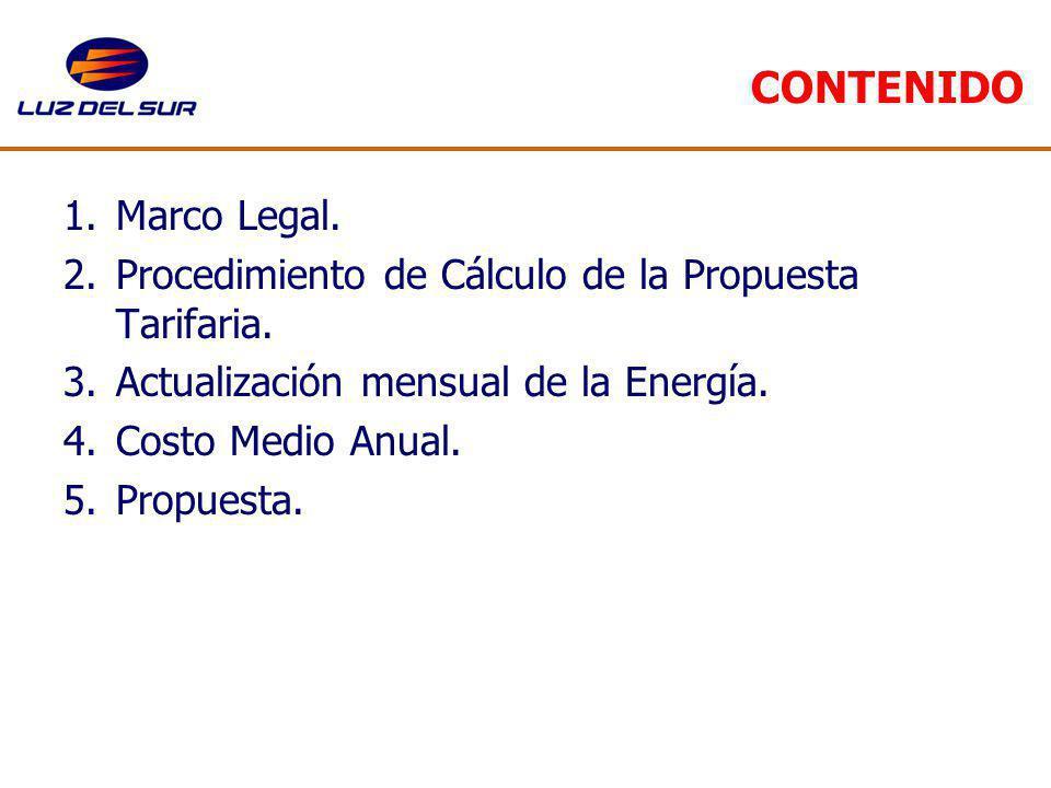 CONTENIDO Marco Legal. Procedimiento de Cálculo de la Propuesta Tarifaria. Actualización mensual de la Energía.
