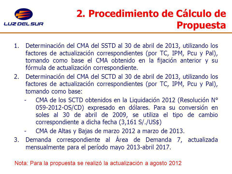 2. Procedimiento de Cálculo de Propuesta