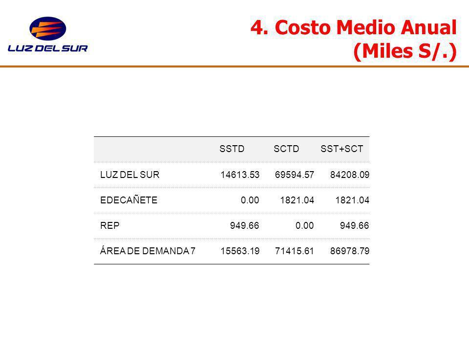 4. Costo Medio Anual (Miles S/.)