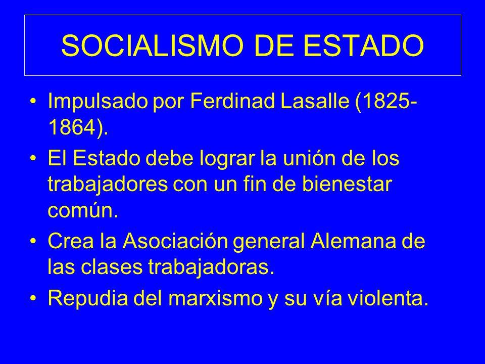 SOCIALISMO DE ESTADO Impulsado por Ferdinad Lasalle (1825-1864).