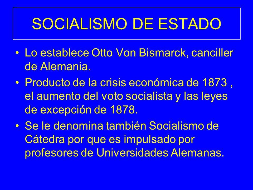 SOCIALISMO DE ESTADO Lo establece Otto Von Bismarck, canciller de Alemania.