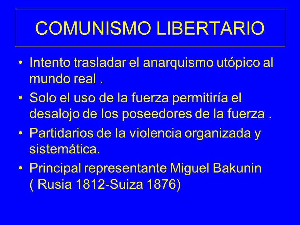 COMUNISMO LIBERTARIO Intento trasladar el anarquismo utópico al mundo real .