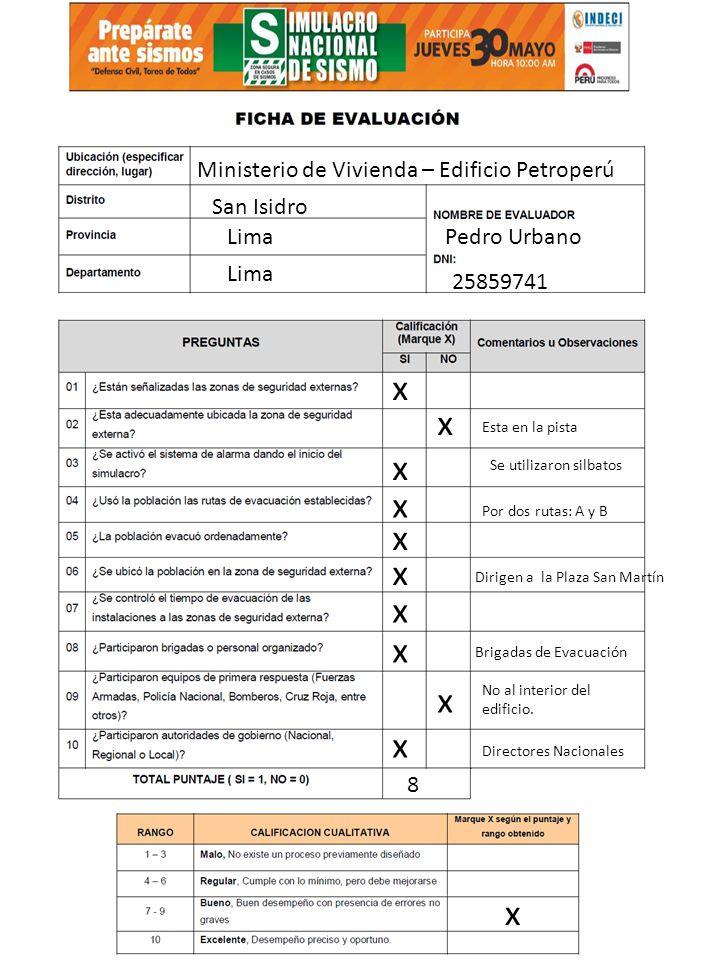 x x x x x x x x x x x Ministerio de Vivienda – Edificio Petroperú