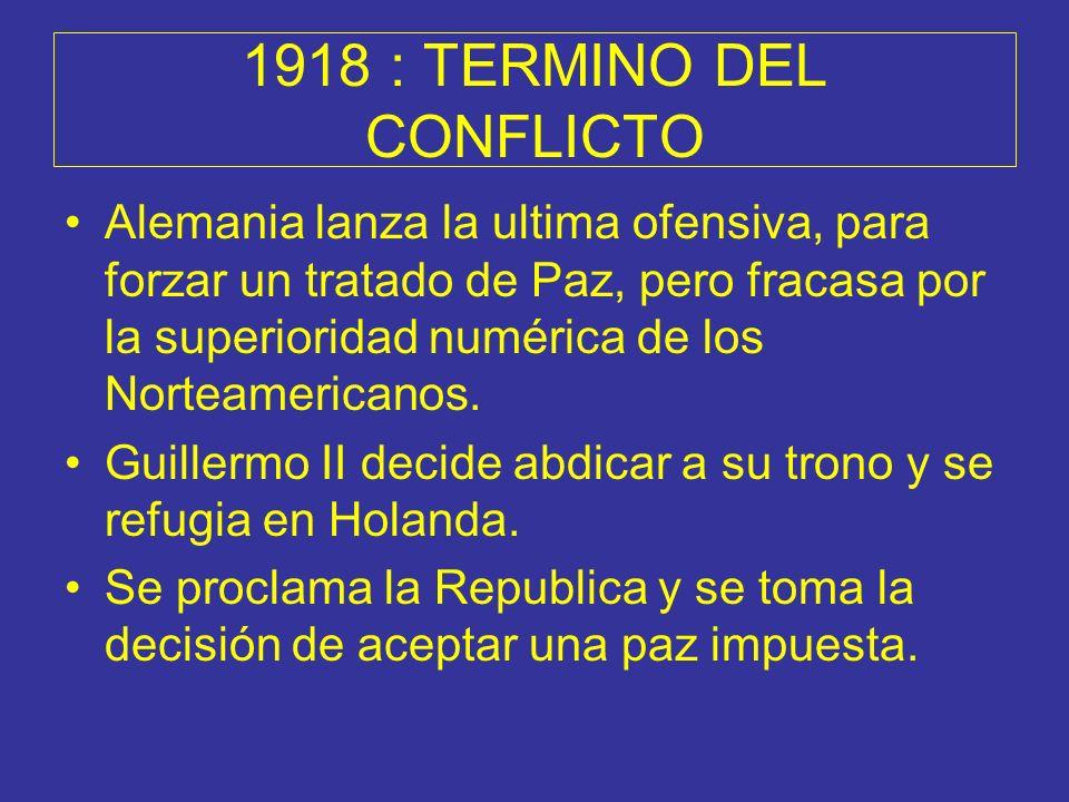 1918 : TERMINO DEL CONFLICTO