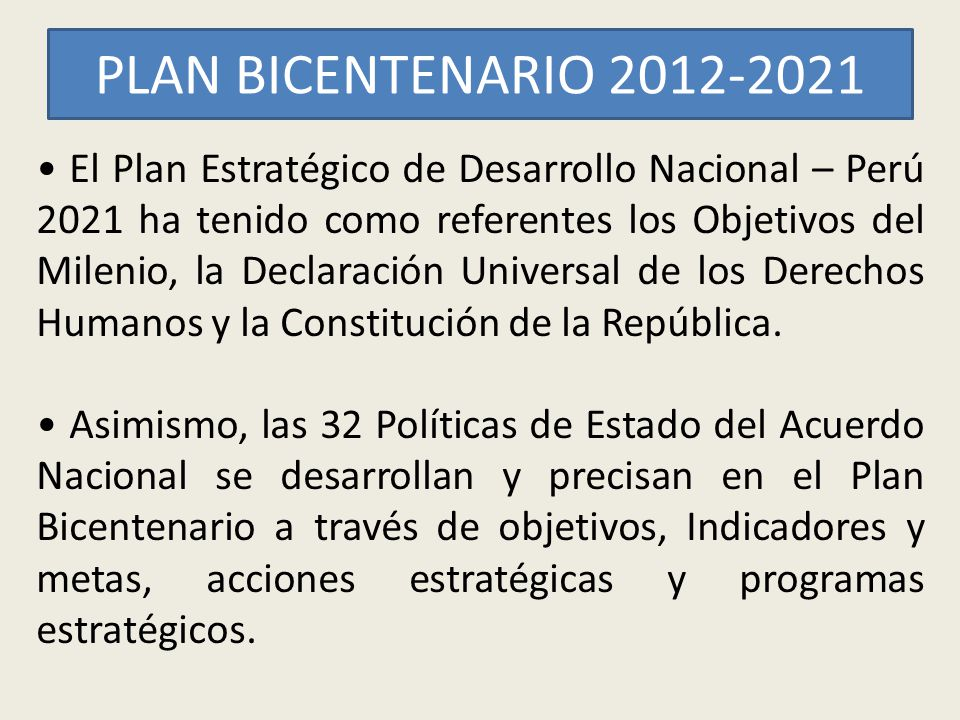PLAN BICENTENARIO 2012-2021