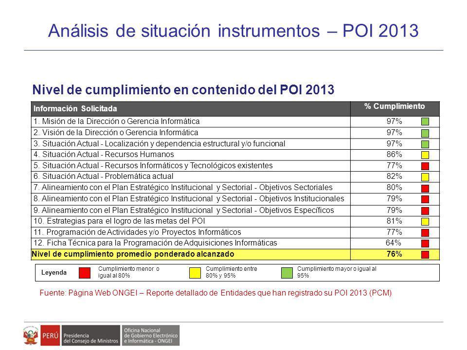 Análisis de situación instrumentos – POI 2013