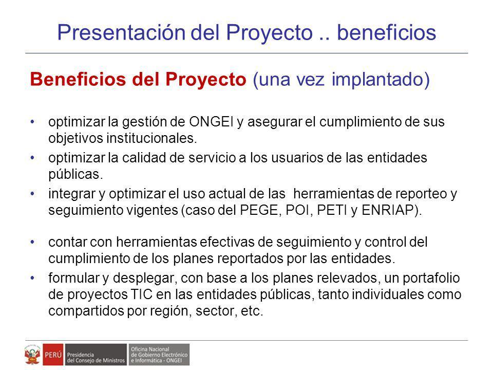 Presentación del Proyecto .. beneficios