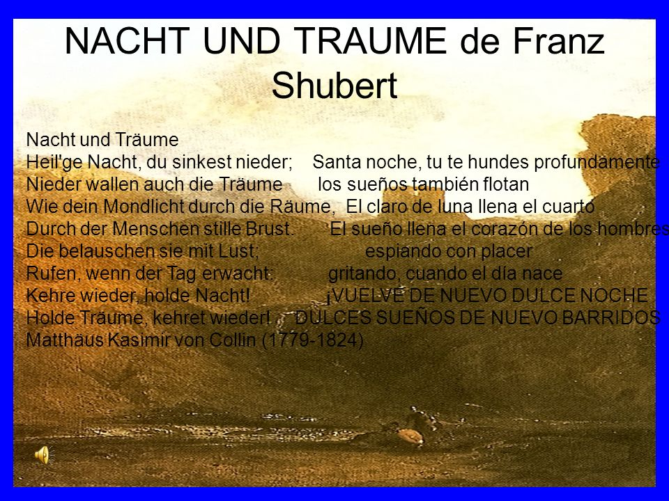 NACHT UND TRAUME de Franz Shubert