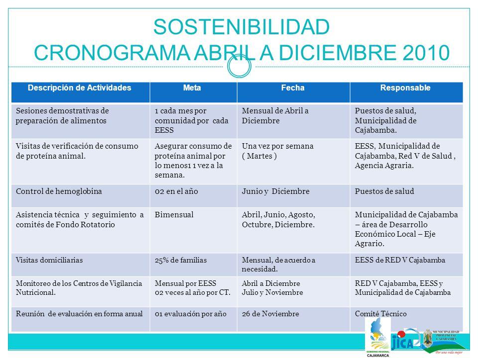 SOSTENIBILIDAD CRONOGRAMA ABRIL A DICIEMBRE 2010