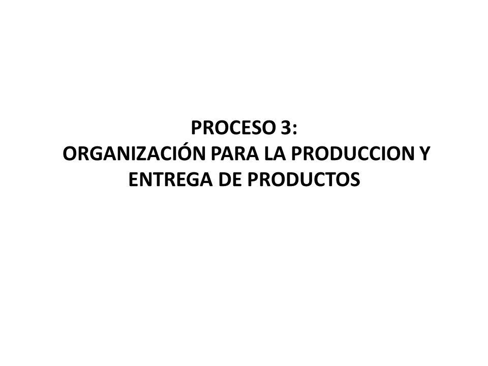 PROCESO 3: ORGANIZACIÓN PARA LA PRODUCCION Y ENTREGA DE PRODUCTOS