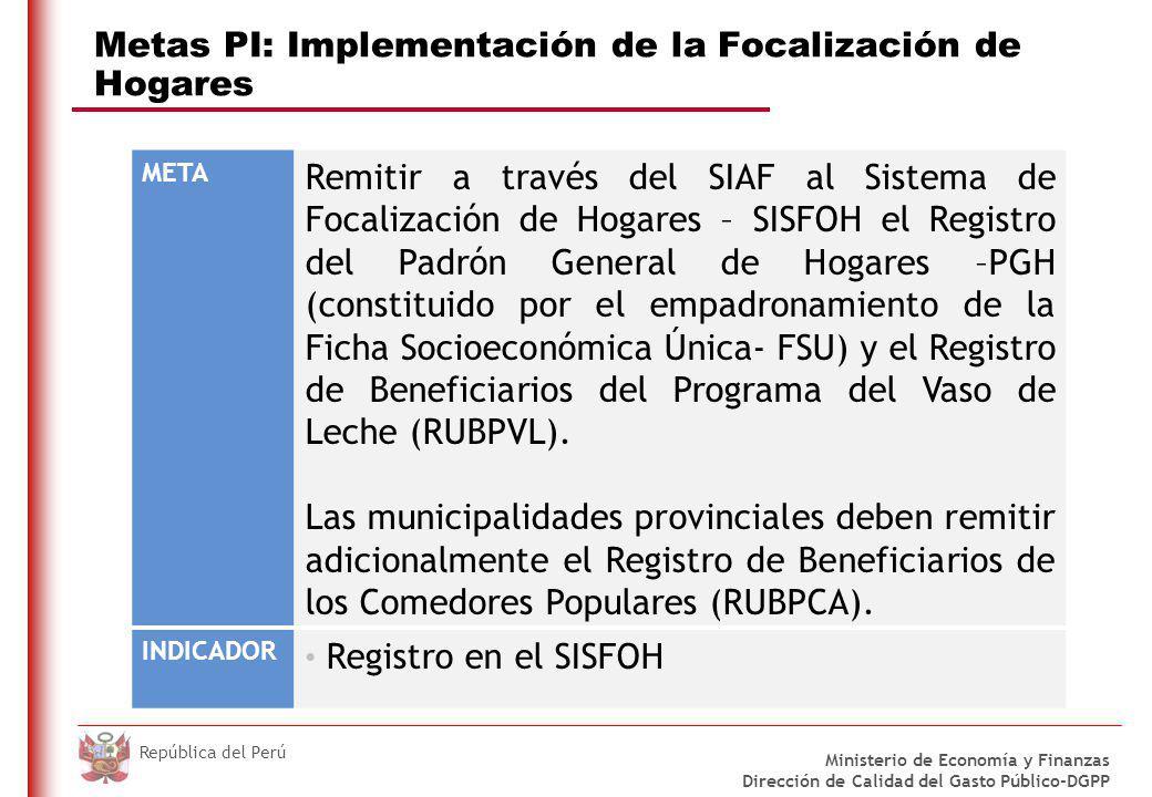 Metas PI: Implementación de la Focalización de Hogares