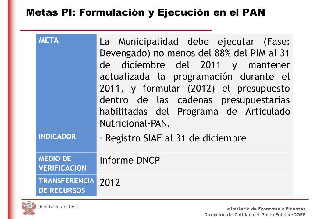 METAS 2011 DEL PROGRAMA DE MODERNIZACIÓN MUNICIPAL PARA MUNICIPALIDADES DE CIUDADES PRINCIPALES TIPO A