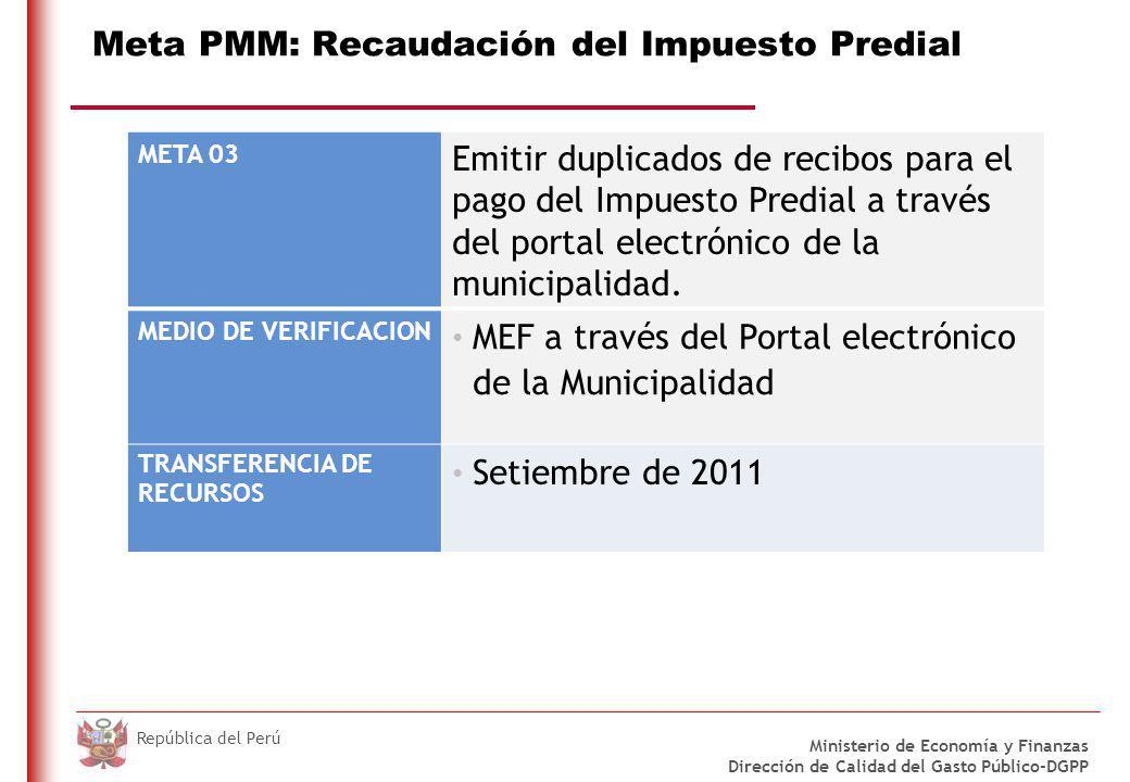 Meta PMM: Recaudación del Impuesto Predial