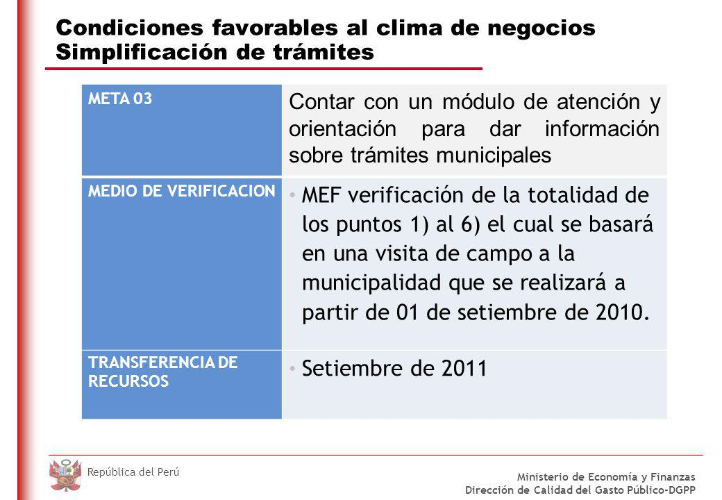 Condiciones favorables al clima de negocios