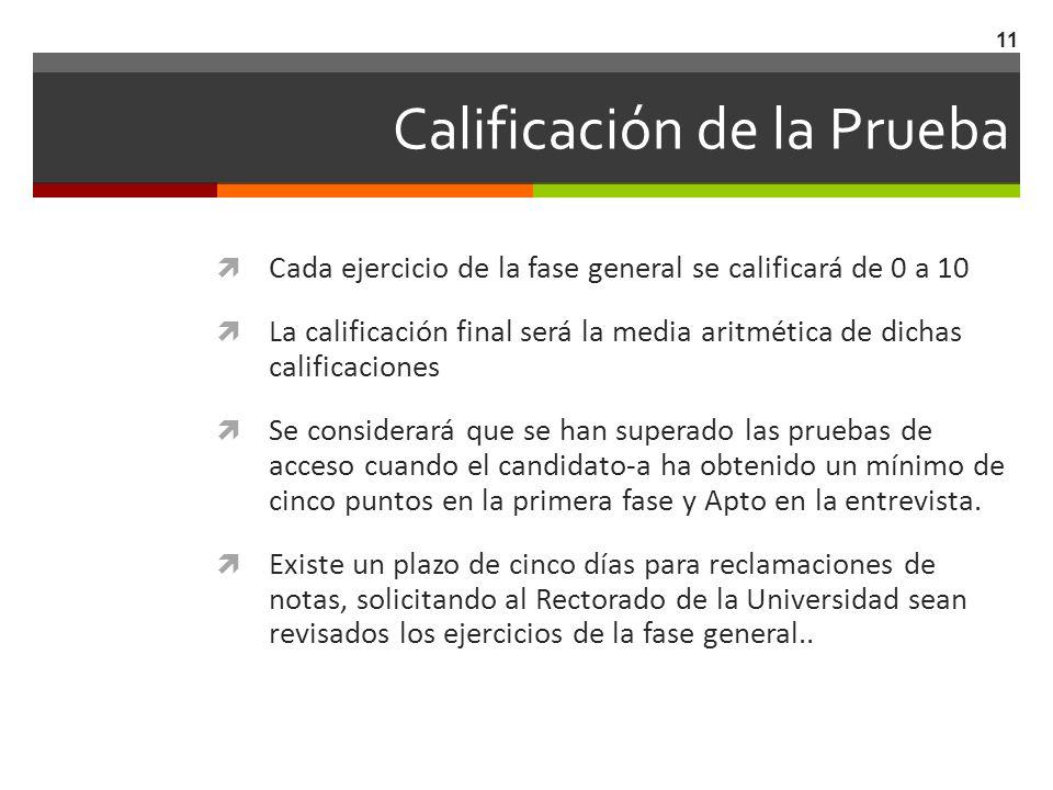 Calificación de la Prueba