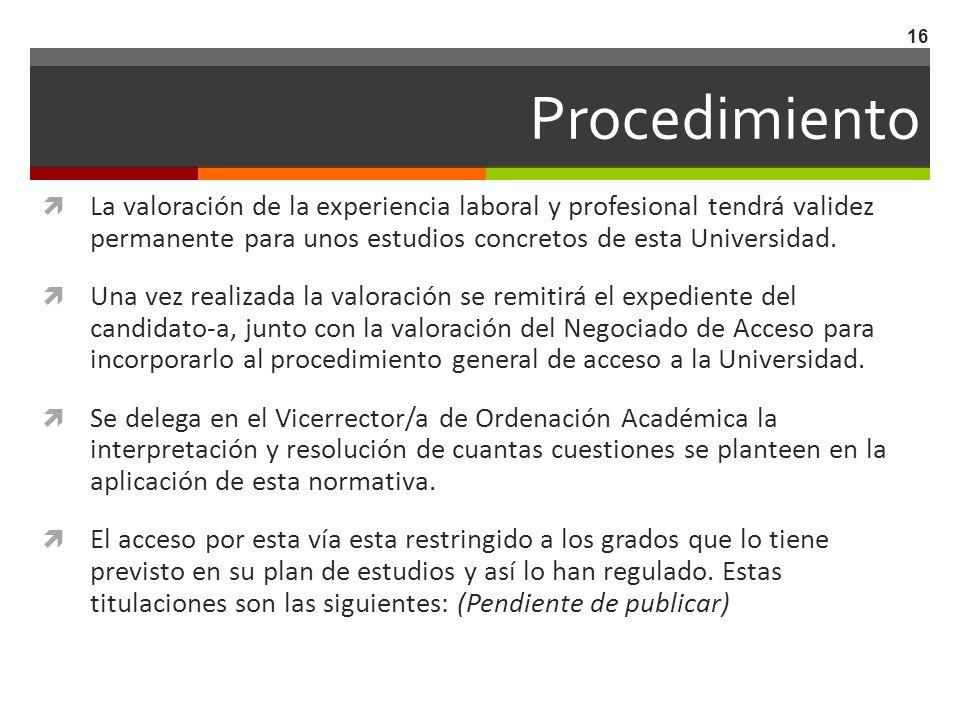 ProcedimientoLa valoración de la experiencia laboral y profesional tendrá validez permanente para unos estudios concretos de esta Universidad.