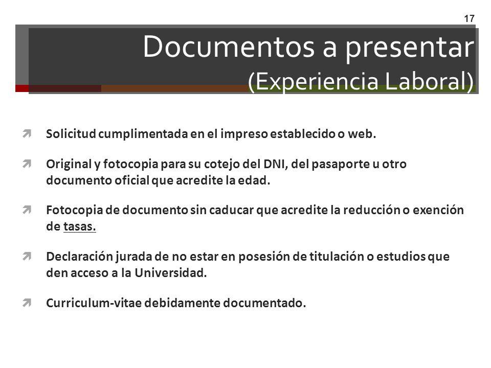 Documentos a presentar (Experiencia Laboral)