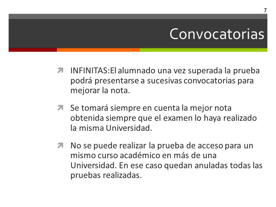 Convocatorias INFINITAS:El alumnado una vez superada la prueba podrá presentarse a sucesivas convocatorias para mejorar la nota.