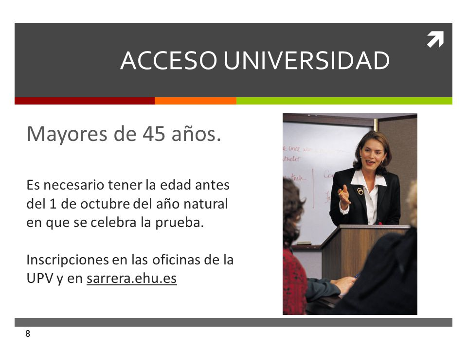 ACCESO UNIVERSIDAD Mayores de 45 años.