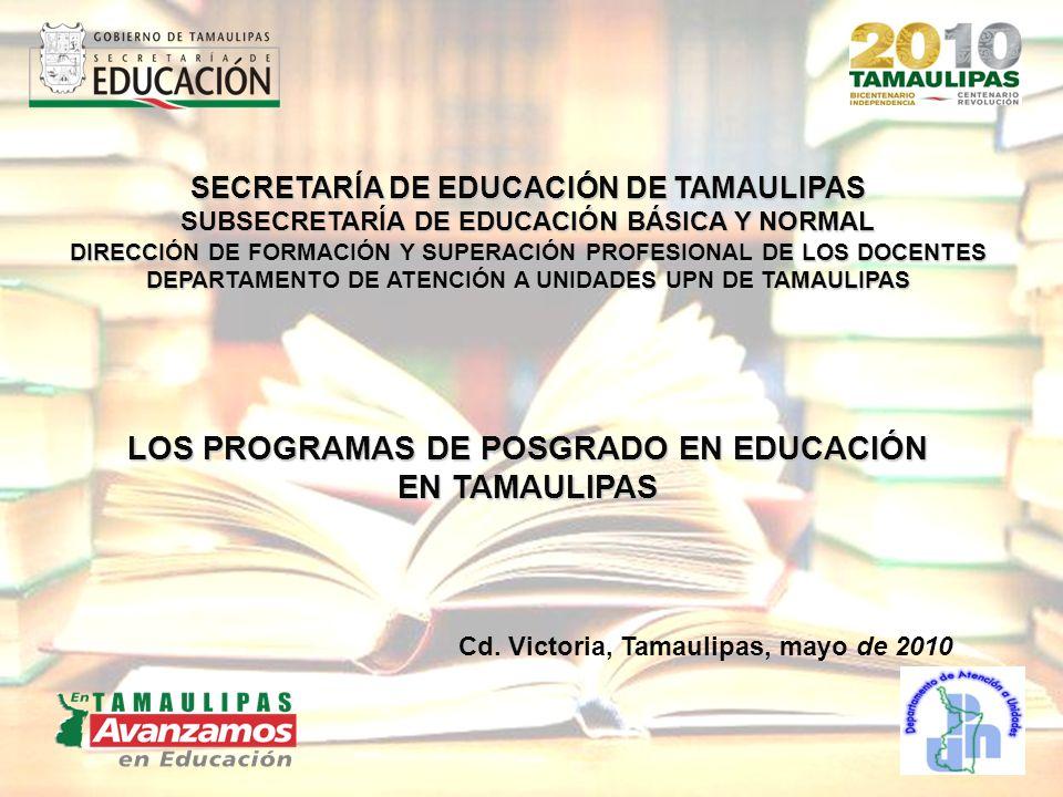 LOS PROGRAMAS DE POSGRADO EN EDUCACIÓN EN TAMAULIPAS