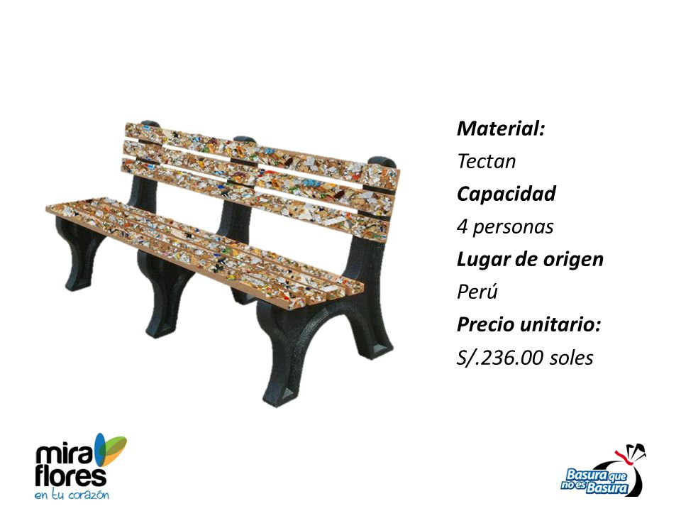 Material: Tectan Capacidad 4 personas Lugar de origen Perú Precio unitario: S/.236.00 soles