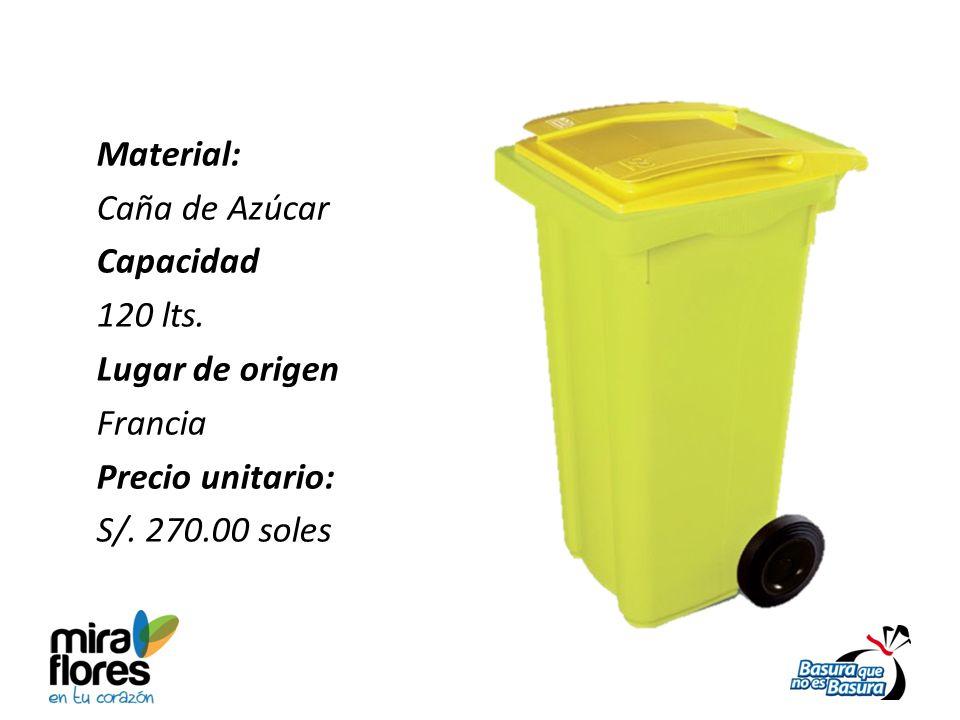 Material: Caña de Azúcar Capacidad 120 lts