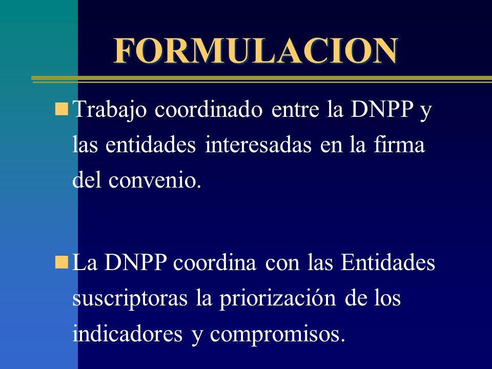 FORMULACION Trabajo coordinado entre la DNPP y las entidades interesadas en la firma del convenio.