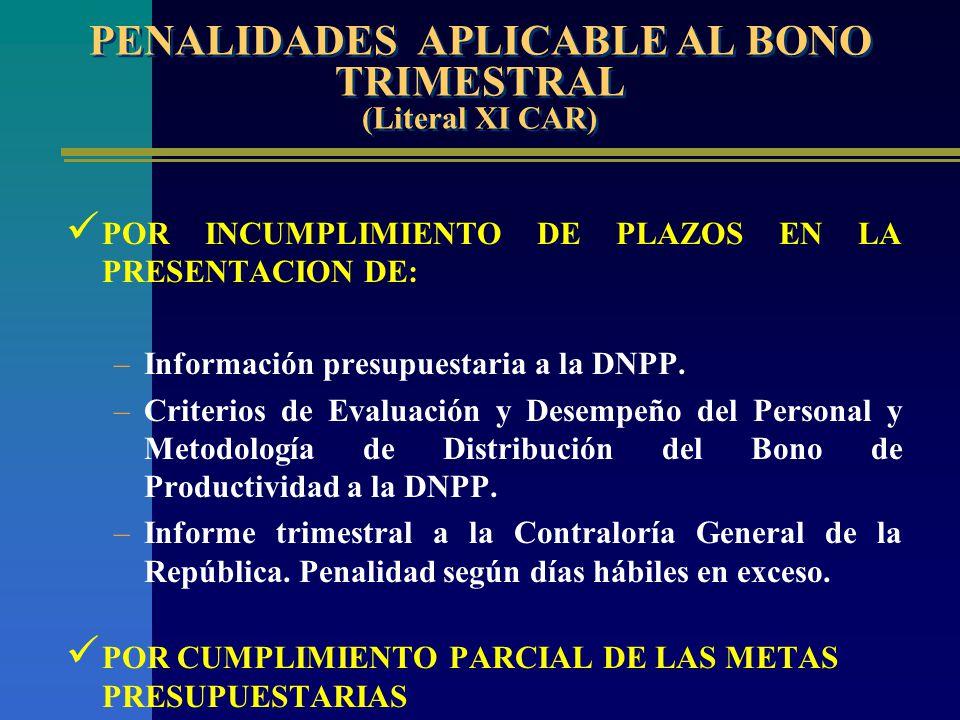 PENALIDADES APLICABLE AL BONO TRIMESTRAL (Literal XI CAR)