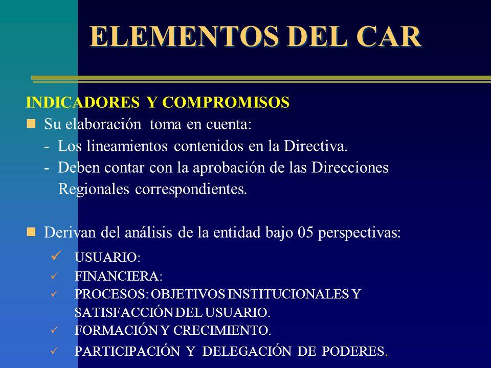 ELEMENTOS DEL CAR USUARIO: INDICADORES Y COMPROMISOS