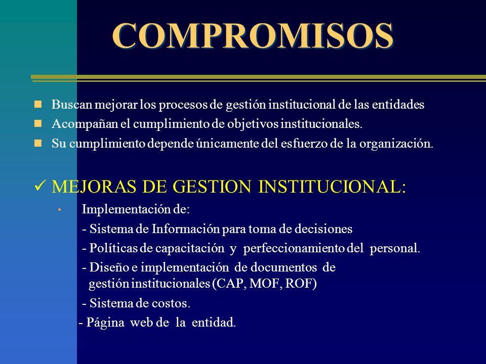 COMPROMISOS MEJORAS DE GESTION INSTITUCIONAL: