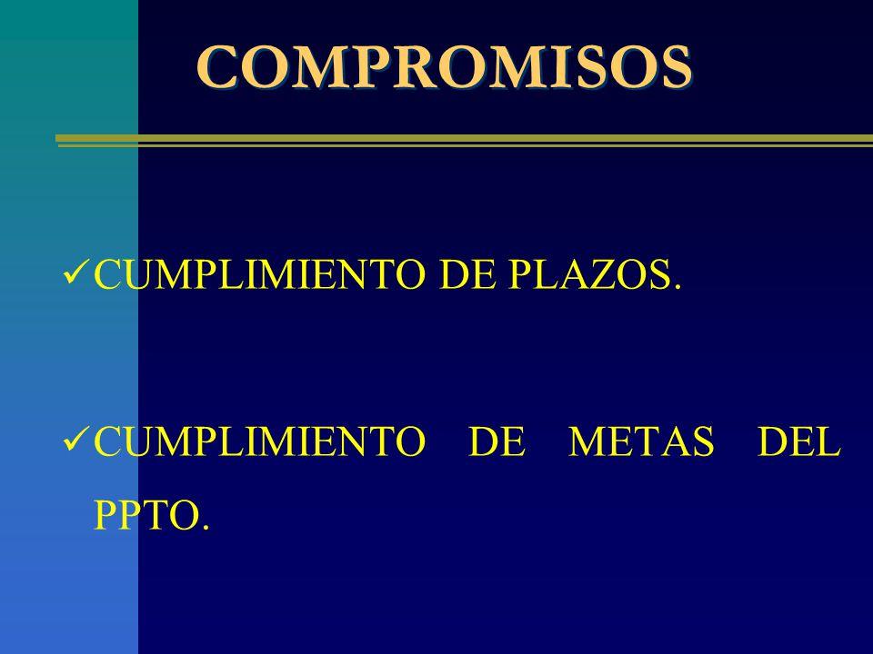 COMPROMISOS CUMPLIMIENTO DE PLAZOS. CUMPLIMIENTO DE METAS DEL PPTO.