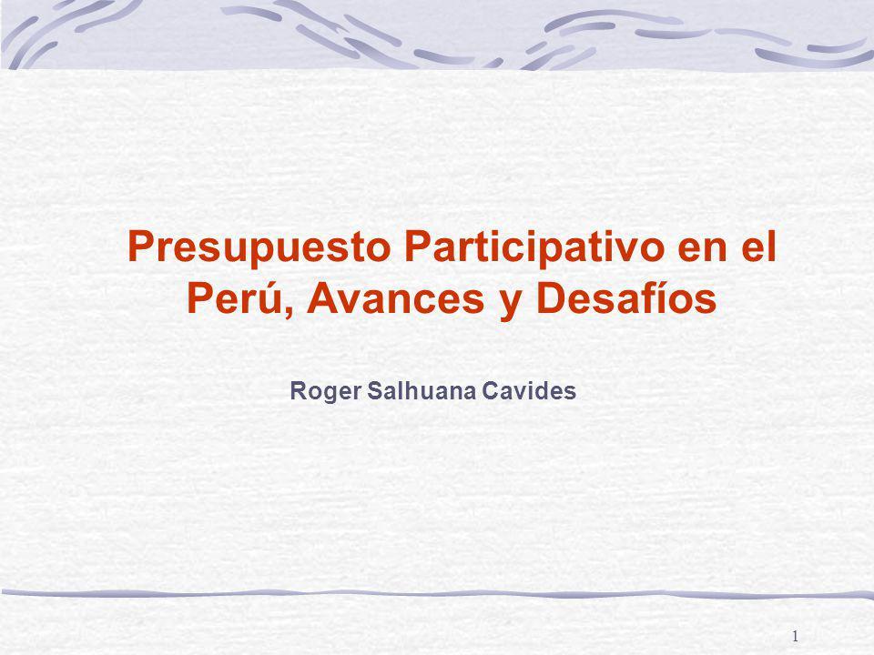 Presupuesto Participativo en el Perú, Avances y Desafíos