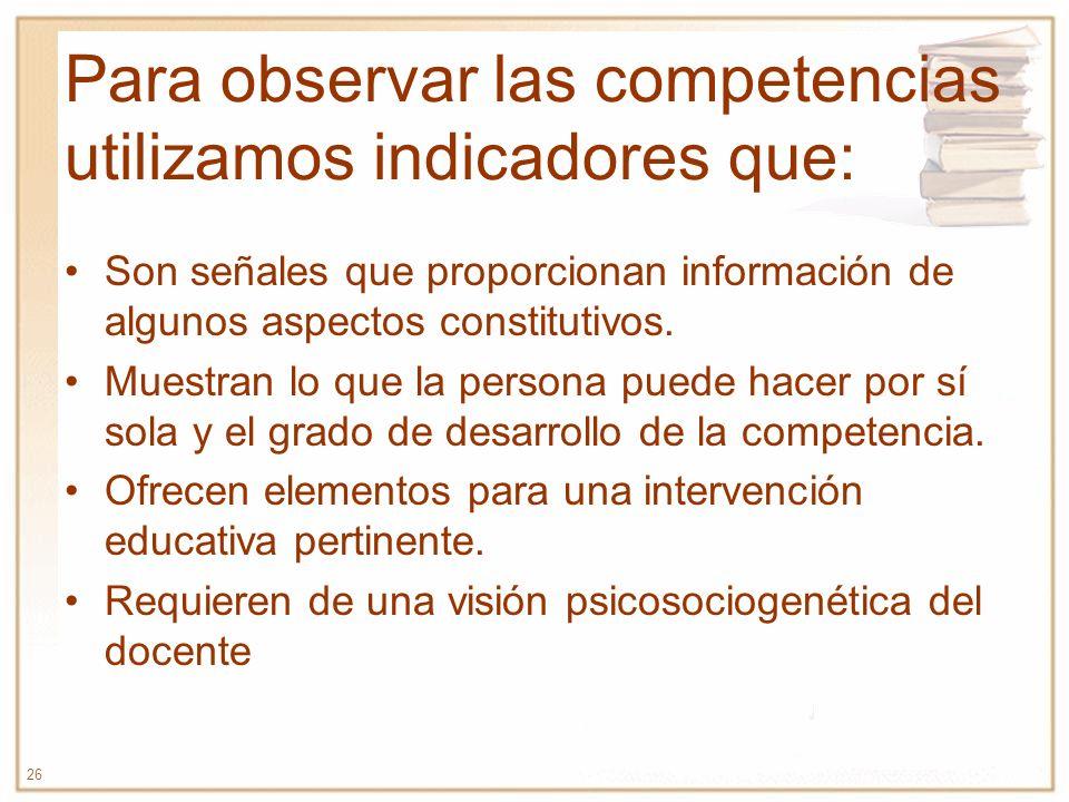 Para observar las competencias utilizamos indicadores que: