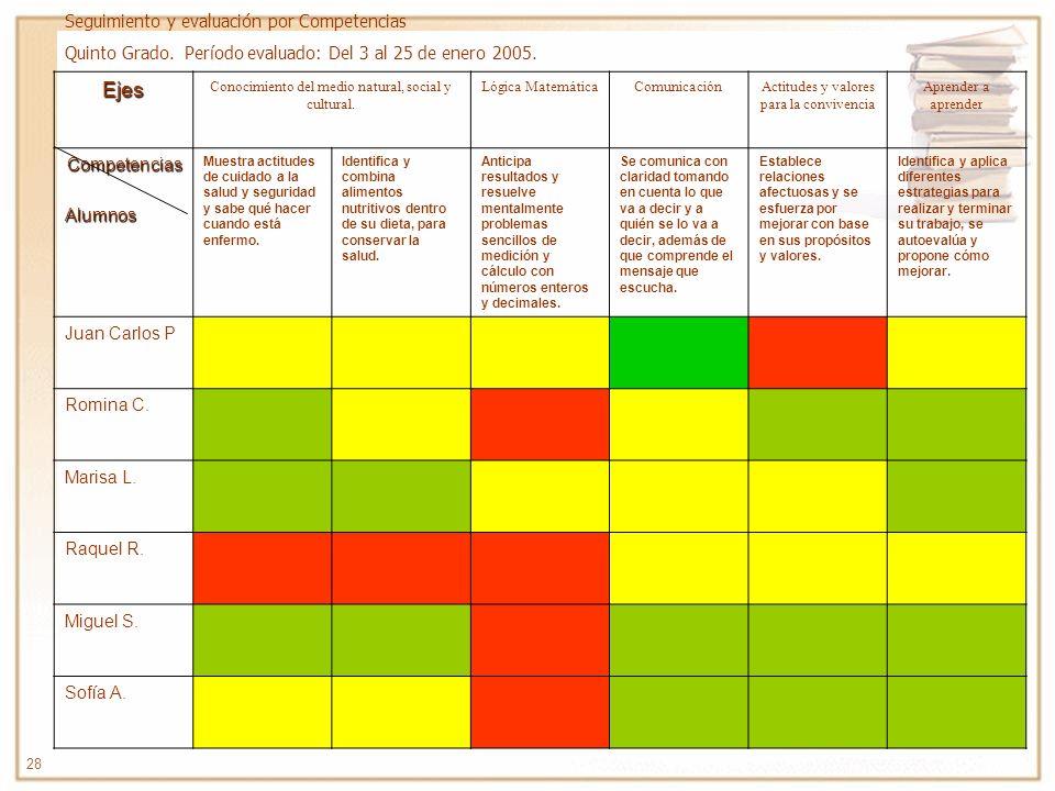 Ejes Seguimiento y evaluación por Competencias