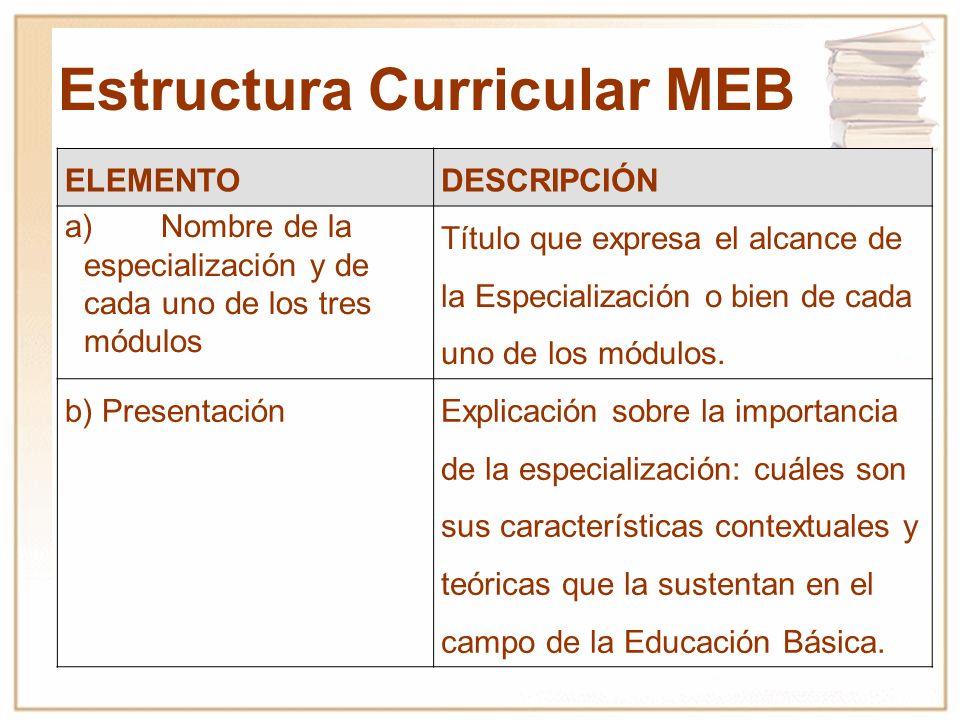 Estructura Curricular MEB