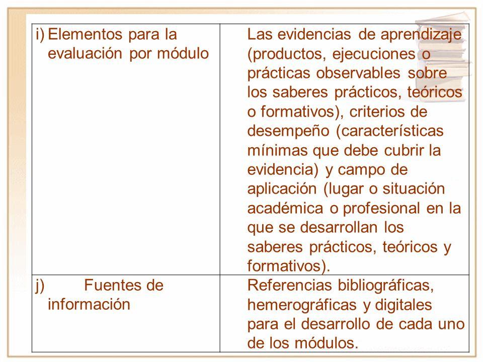 i) Elementos para la evaluación por módulo