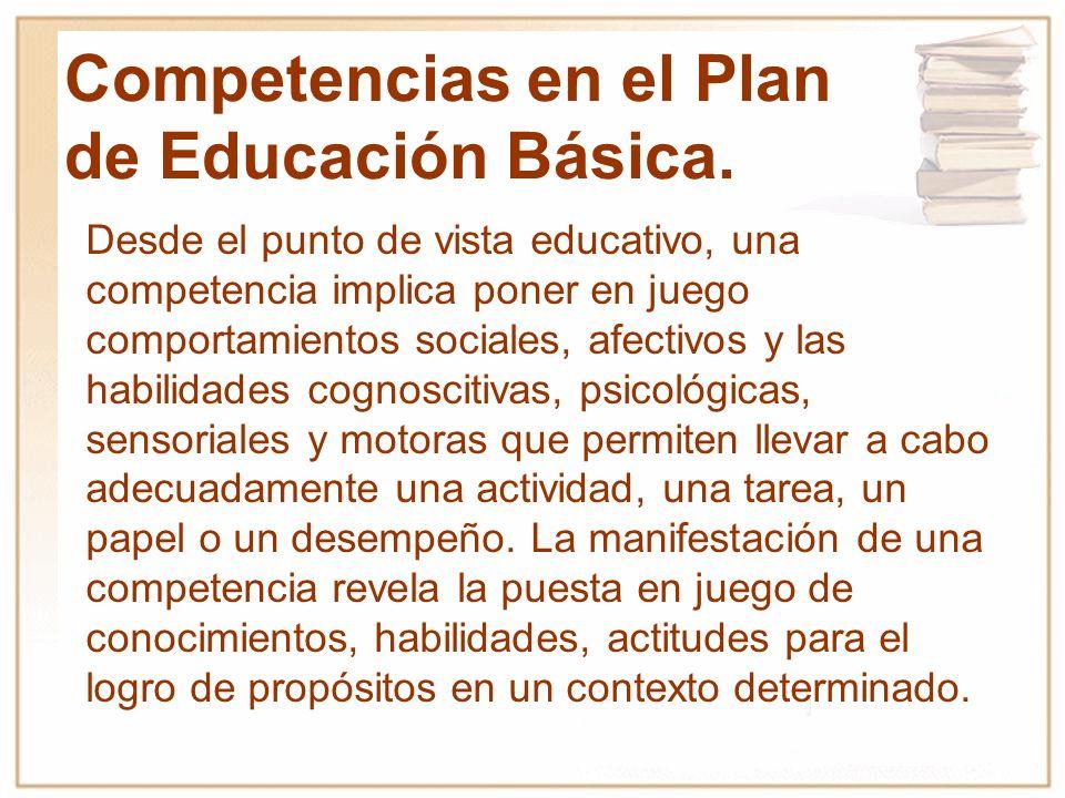 Competencias en el Plan de Educación Básica.