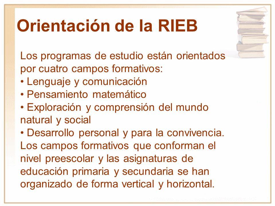 Orientación de la RIEB Los programas de estudio están orientados por cuatro campos formativos: • Lenguaje y comunicación.
