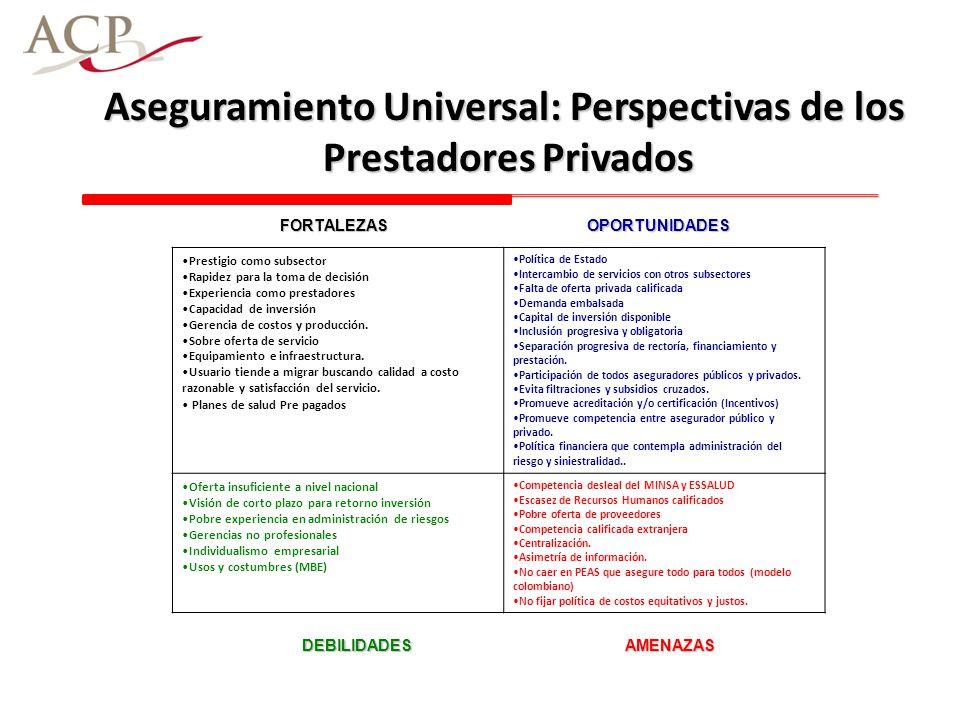 Aseguramiento Universal: Perspectivas de los